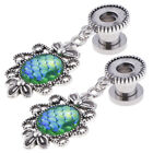 2pcs Ear Tunnel Plugs Green Fish Scale Dangle Ear Gauges Piercing Jewerly