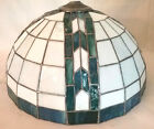 Large Vtg Dome Tiffany Style Stained Glass Lamp Shade Only Blue Green White 16