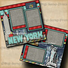 NEW YORK vacation travel 2 premade scrapbook pages paper piecing 12x12 digiscrap