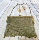 Antique 1906 Dated German Silver Chain Mesh Purse and Faux Pearl Earings Handbag