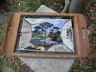 Marquetry Brazilian Real Butterfly Wing Art Serving Wood Tray Inlay Border 18
