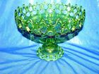 large Vaseline Glass Green Pedestal Footed Vintage  Dish