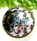 PRETTY ANTIQUE CHAMPLEVE ENAMEL BUTTON WITH FLOWERS J45