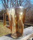 Jeannette Marigold Carnival Glass Hex Optic Honeycomb Pattern Pitcher w/ Ice Lip