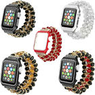 Pomegranate Crystal Agate Watch Band and Diamond Metal Watch Case For AppleWatch