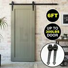6 FT Modern Antique Style Black Steel Sliding Barn Wood Door Hardware Closet Set