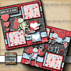LUV BUG family valentines day LOVE 2 premade scrapbook pages paper DIGISCRAP