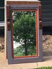 Antique Mirror Old Country Rare Western Decor Leather Wagon Drive Line Trim