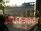 Lot 8 Mid Century Modern Juice Drinking Glass Red White Stripe Gingham Glasses