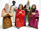 Vintage 5 Paper Mache Christmas Nativity Scene Figurines Hand Painted Germany