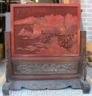 20'' Marked lacquerware Mountain Water Old Man Pine Landscape Folding Screen