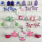 Hello Kitty Dragonflys Hearts Flowers Sparkle Beads 30 Pc Set European 5 mm D773