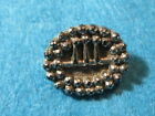 Antique Button: Black Glass Buckle with Silver Lustre