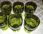 Lot of 5 Vintage Colonial  Green Avocado  Thumbprint Glasses Goblets Beer.