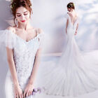 ladies V neck Floral Fishtail Mermaid Gown Long trailing Evening Wedding Dresse