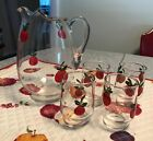 4 JUICE GLASSES W/HAND PAINTED APPLES