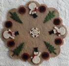 Wool Felt Die Cut Shapes~Penny Rug~Snowmen in the Pines~Winter~