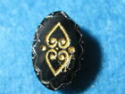 Antique Buttons: Black Glass Oval with gold lustre hearts