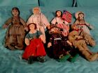 Lot of 7 Vintage 1979 Hallmark Collectible Cloth Dolls Famous America Series