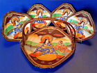 Takito Square Tray With Rattan Handle And Four Plates - Hand Painted Satsuma