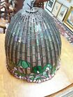 Vintage leaded glass lamp shade, approx 13