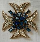 Vintage Trifari Moghul Maltese Cross Brooch Pin Sapphire Blue Signed Needs Stone