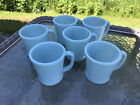 Lot 6 Vintage FIRE KING Delphite Azurite Blue Turquoise D Ring Mugs Coffee Cups