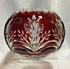 AJKA VOTIVE ROSE BOWL RUBY RED CUT TO CLEAR CRYSTAL W TAG BOHEMIAN HUNGARY