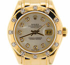 Ladies Rolex Solid 18K Yellow Gold Datejust Pearlmaster White MOP Diamond 69318