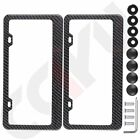 2pcs Carbon Fiber Surface License Plate Tag Snap Fit Frame for Auto Car Truck