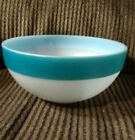 Fire King Turquoise/Teal Colonial Banded Mixing Bowl 7 1/2