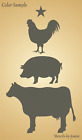 Joanie Stencil Farm Animals Cow Pig Chicken Milk Dairy Eggs Ranch Farmhouse Sign
