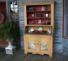 1870s Stepback Cupboard Original Mustard Red Blue Paint Decoration Dovetailed NR