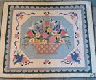 Vintage Nantucket Collection Hand Hooked Floral Wool Square Blue  Rug GUD 44x54
