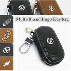 Multi-Brand Women Men Genuine Cow Leather Zip Car Key Bag Chain Ring Case Holder