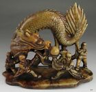 Chinese Soapstone Sculpture Dragon Dance Chasing Pearl of Wisdom w/ Dancers