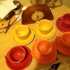 FIESTA 6 Cups & Saucers In 3 Different Colors - HOMER LAUGHLIN FIESTAWARE
