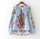 Chinese Natual Style Shrts Loose Top Embroidery Floral Stripe Tassel Joker Tops