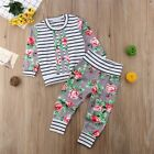 2PCS Casual Newborn Baby Boy Girl Floral Tops Long Pants Outfits Set Clothes