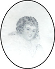 18th or19th C French Miniature Portrait of Lady, Pencil on Paper in Wooden Frame