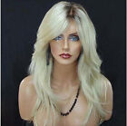 US Women Long Straight Blonde Ombre Wig Natural Looking Hair Synthetic Full Wigs