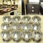 12PCS Crystal Glass Door Knobs Drawer Cabinet Furniture Kitchen Handle W/Screws