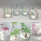 4 Culver Ltd Pink FLAMINGO Palm Tree DOF LowBall Glass Set Tumblers Tropical NEW