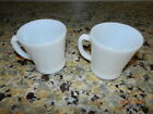 Set of 2 Fire King Oven Ware White Milk Glass Coffee Cups Mugs