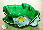 ANCHOR HOCKING glass MAPLE LEAF dish FOREST GREEN orig sticker JUNKET FUDGE NOS