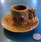 Vintage Victoria Ceramics Japan Squirrel Pine Cone Small Cup and Saucer