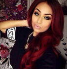 US Wine Red Synthetic Hair Wigs Ombre Burgundy Long Wavy Synthetic Wigs 24