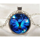 New Butterfly Blue Cabochon Silver plated Glass Chain Tibet Pendant Necklace