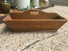 Antique Primitive Wood  Caddy Divided Tray Box Dovetailed