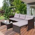 3Pcs Patio Pool Side Rattan Wicker Furniture Sofa Set Couch Cushioned Classic